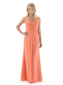Chiffon Bridesmaids Dress with Beaded Cap Sleeves