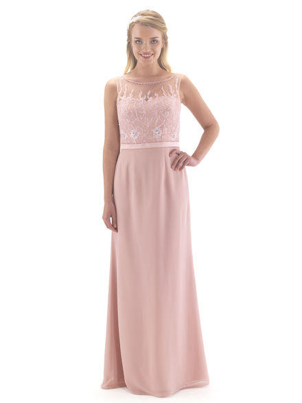 Beaded Bodice Chiffon Bridesmaid Dress