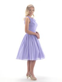 Chiffon Ruched Tea Length Bridesmaid Dress