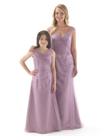 Satin Bridesmaid Dress with Tulle Overlay