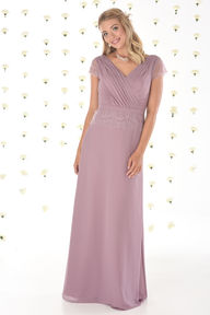Chiffon Bridesmaids Dress with Short Sleeves
