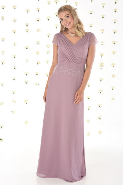 Chiffon Bridesmaids Dress with Lace Capped Sleeves