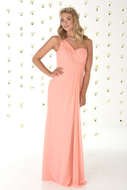 One Shoulder Chiffon Bridesmaids Dress