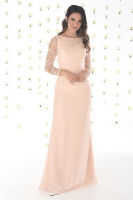 Chiffon Bridesmaids Dress with Lace Peplum and Sleeves