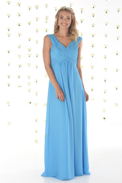 Chiffon Bridesmaids Dress with Thick Straps