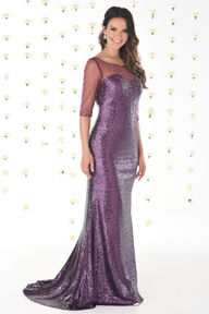 Allover Sequin Dress with Sheer Neck and Sleeves