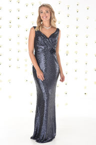 Allover Sequin Dress with Satin Waist Flower