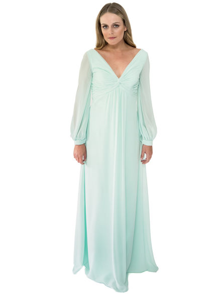 Long Sleeve Chiffon Bridesmaid Dress