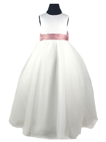 Plain Flowergirl Dress with Satin Sash & Bow