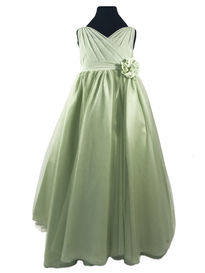 Chiffon Flowergirl Dress with Cross Over Bodice