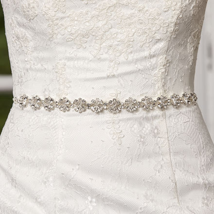 Crystal Daisies Organza Bridal Belt