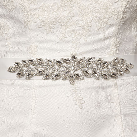 Grosgrain Bridal Belt with Diamante Leaf Pattern