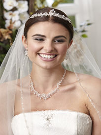 Crystal Bead Tiara, Necklace & Earrings