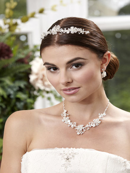 Flower Necklace, Earrings and Tiara Set