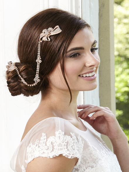 Double Comb Diamante Hair Drape