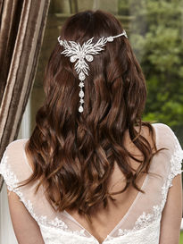 Full Head Hair Ornament With Diamante Flowers & Drops