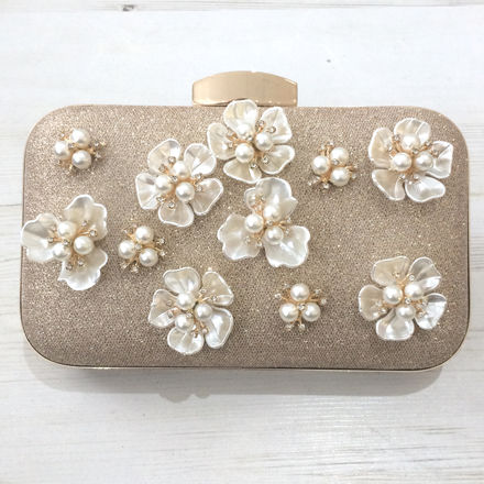 Sparkly Clutch Bag with Flower Decor