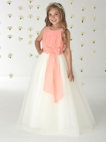 Chiffon Bodice Tulle Skirt Flowergirl Dress