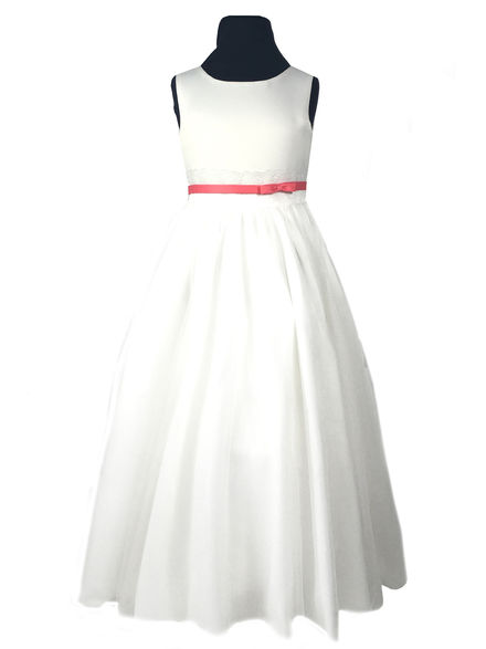 Lace & Coloured Satin Band Flowergirl Dress