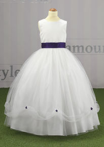 Full Tulle Skirt with Coloured Band & Flowers