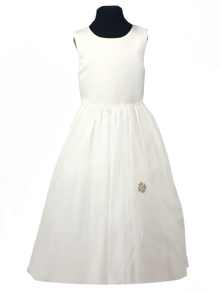 Gimped Edge Flowergirl Dress with Diamante Motif