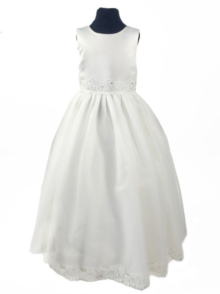 Satin & Lace Trim Flowergirl Dress