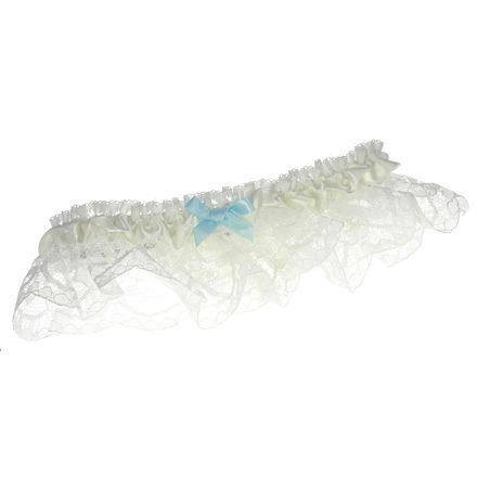 Lace Garter with Blue Ribbon