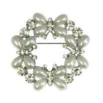 Butterfly Pearl & Diamante Bridal Brooch