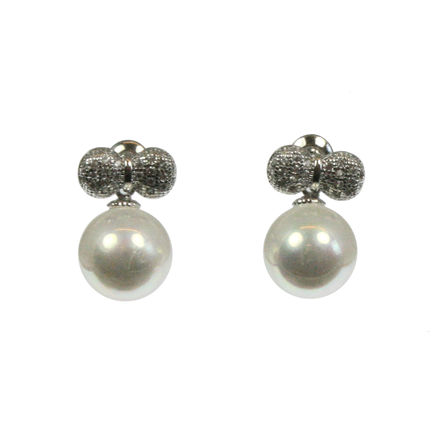 Pearl & Diamante Bow Earrings