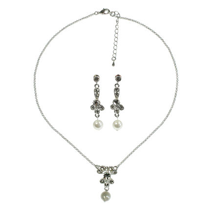 Pearl & Diamante Necklace & Earrings