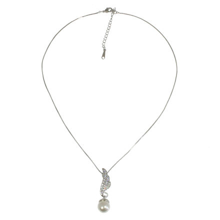 Diamante Leaf And Pearl Necklace