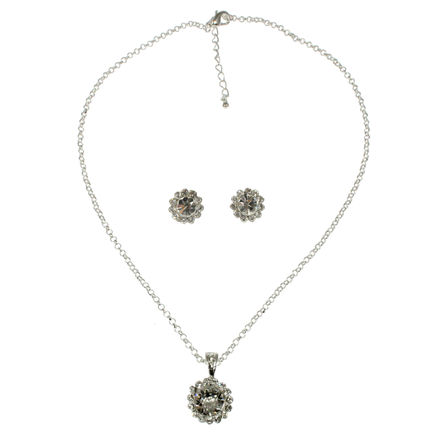 Diamante Pendant with Matching Earrings