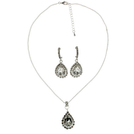 Diamante Teardrop Pendant with Matching Earrings