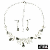 Crystal & Jewelled Necklace with Matching Earrings