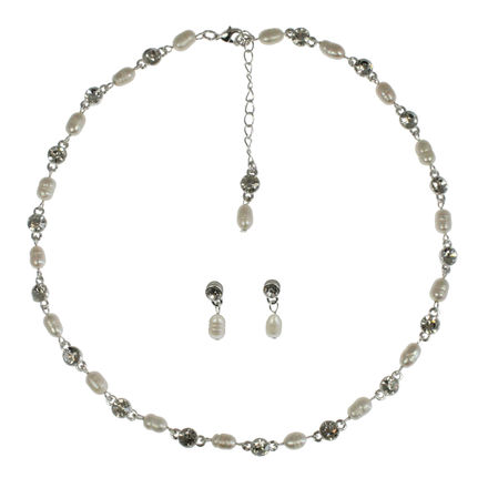 Pearl & Diamante Necklace with Matching Earrings