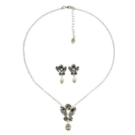 Pearl Drop Necklace with Matching Earrings