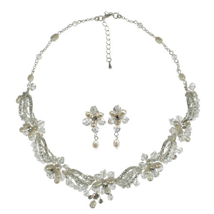 Diamante & Freshwater Pearl Necklace with Matching Earrings