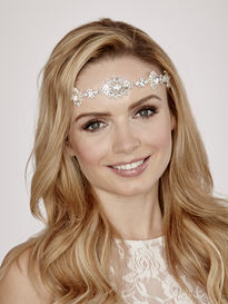 Large Flower Diamante Bridal Brow Band