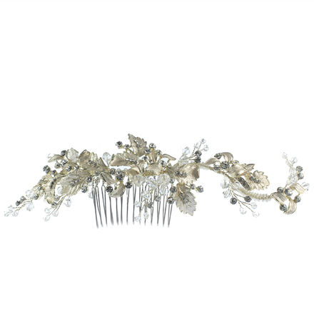 Metal Leaf & Diamante Bridal Comb