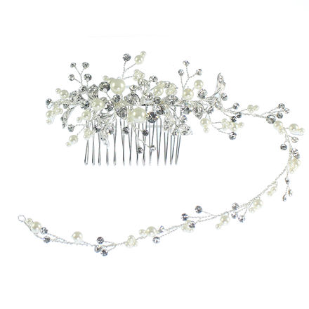 Diamante & Pearl Hair Vine On Comb