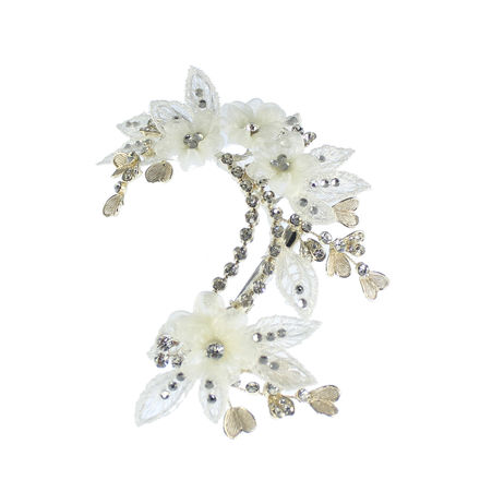 Lace Flowers And Diamante Leaf Bridal Hair Clip
