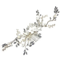 Diamante Wired Enamel Flower Hair Vine On Comb