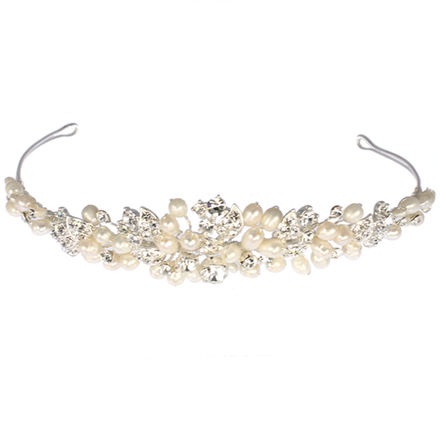 Pearl & Leaf Diamante Tiara