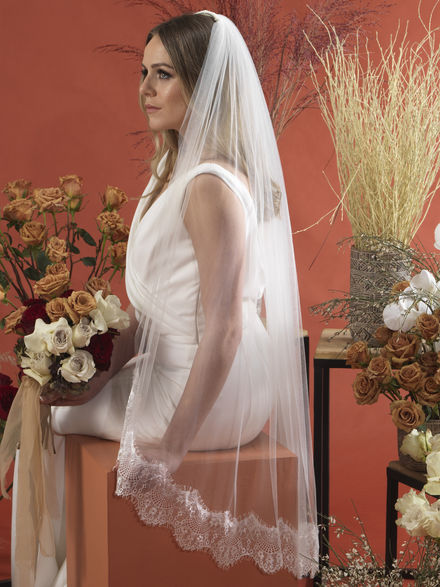 Soft Tulle Chantilly Lace Edge Veil