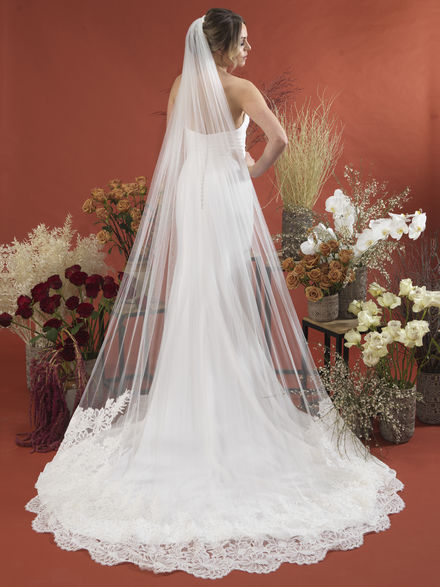 Single Tier Wide laced Edge Veil