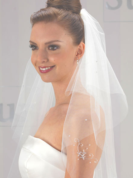 Raw edge Bridal Veil with Crystal Pattern