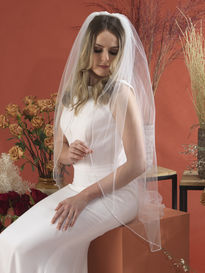 Single Tier Bridal Veil with Diamante Edge