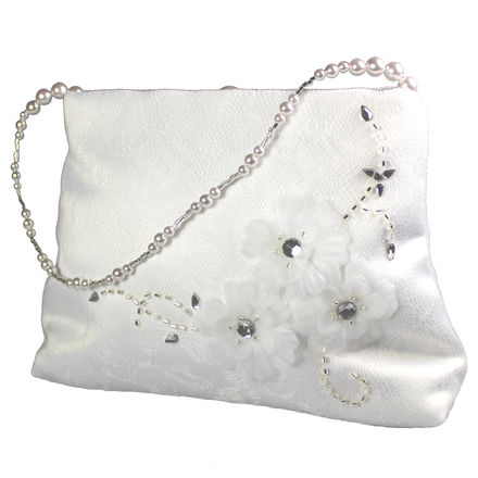 Tulle Beaded Flower Bag with Pearl Handle