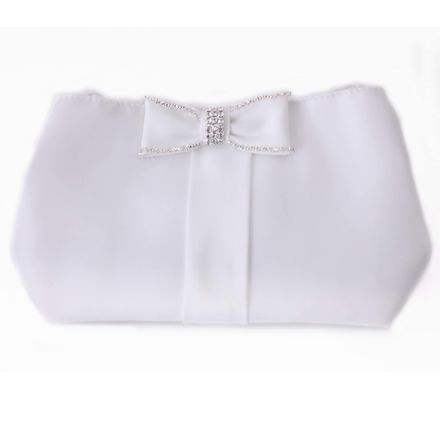 Satin Diamante Bow Communion Bag