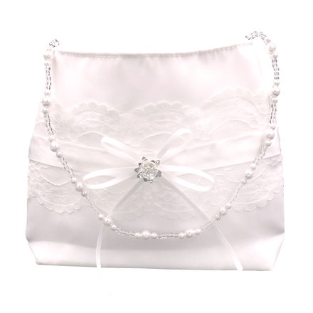 Satin and Lace handbag with Beaded Strap